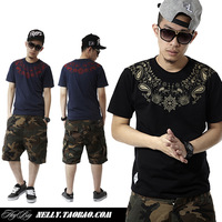 Men's summer hiphop cashew flowers west coast amoeba loose short-sleeve knitted T-shirt