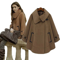 Free shipping 2013 women's fashion medium-long cloak woolen outerwear female long-sleeve wool coat women poncho coat