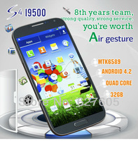 New Arrive Perfect Air Gesture S4 I9500 Quad Core Phone Mobile Mtk6589 Android 4.2 1GB+4GB ROM 3G WIFI Freeshipping