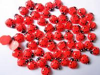 100pcs - Kawaii Flat back Resin Red Ladybug Cabochon / Mobile phone DIY Accessory w1111