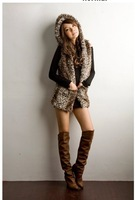 2013 new Autumn and Winter Women's Leopard with two pocket Faux Fur hooded vest coat Long sections C0032