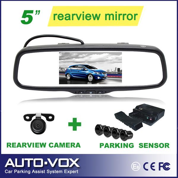 """Parking Assistance Car 5"""" LCD DVD Mirror Monitor W/ Rear View Camera Backup Radar Kits Parking Sensor(China (Mainland))"""