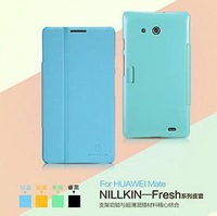 Original Nillkin mobile phone case for Huawei Ascend  Mate with stand function bracket Leather Case Cover Freeshipping