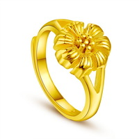 High quality 14k yellow gold plated placer Eventually becoming faded beautiful flower ring