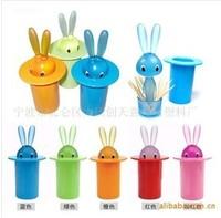 Lovely mini rabbit toothpick box/holders/pot/bottle,5colors100g7.5*15cm wholesale10pcs/lot,Creative lazyboots articles