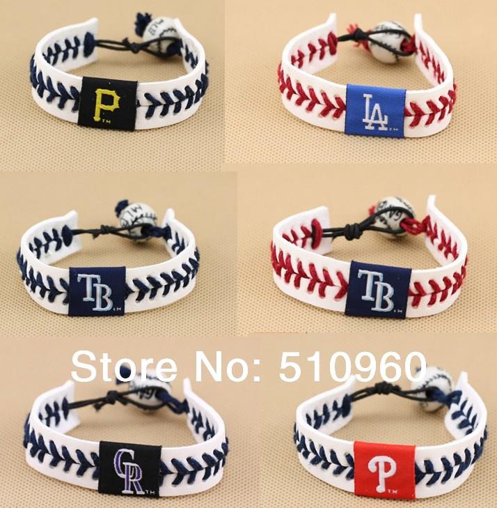 Wholesale 1000pcs/lot Mix Teams U.S. Major League Baseball cow leather braided bracelet with porcelain beads TS036(China (Mainland))