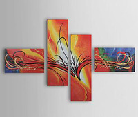 [funlife]-Hand Painted Warm Color Abstract Canvas Oil Painting with Frame Modern Office Wall Art set of 4 Free shipping