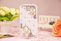 For Samsung GALAXY S3 I9300 fashion Rhinestone diagonal Camellia mobile phone casing drill shell