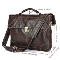 Free Shipping Genuine Leather Men's Chocolate Briefcase Messenger Bag For Men # 7091Q