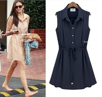 Free Shipping Fashion 2013 Summer New Arrival Lapel Sleeveless Chiffon Dress Plus Size Women's Dress 99777