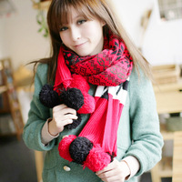 Scarf female double faced thermal knitted scarf sphere sc226