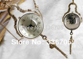 Min.Order 5pcs Free Shipping Antique Bronze Necklace Pendant Ball Clock Watch  HOT Sale!