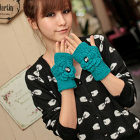 Short design big flower gloves female winter yarn thermal gloves gl1127