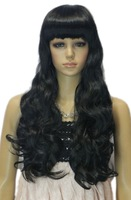 Long Dark Black Wavy Curly Full Bangs Heat Resistant Fibre Synthetic Hair Full Cosplay Anime Costume Wig Elegant
