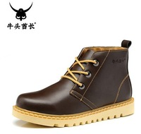 Free shipping 2013 winter new TBA men's fashion genuine leather ankle boots male casual high-top shoes trend plush shoes 39-44