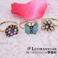 V1014 fashion accessories princess butterfly rustic small fresh flower vintage ring