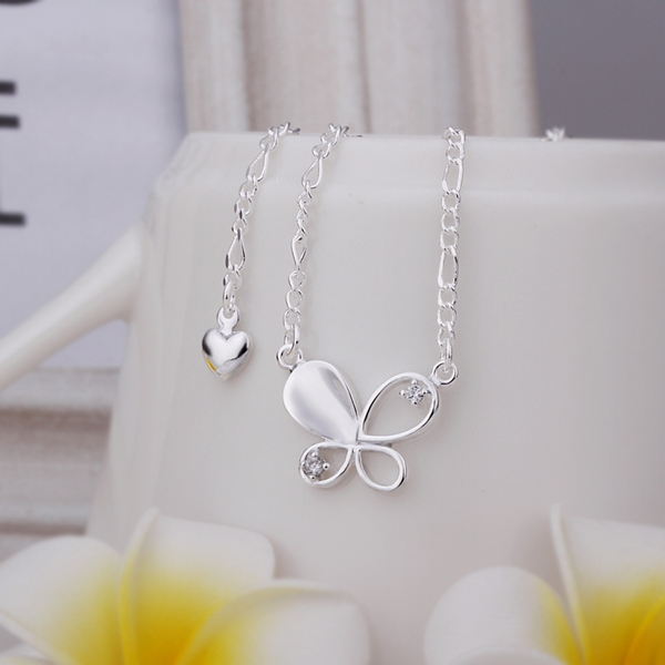 New Arrival!!Wholesale Sterling 925 Silver Anklets,925 Silver Fashion Jewelry,Inlay Butterfly Anklets SMTA021(China (Mainland))