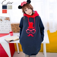 Cii 2013 fall and winter clothes Korean version beard dimensional embroidery pattern hooded sweater coat brushed fleece