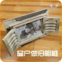 Limited edition fashion vintage 6 nostalgic retro white finishing solid wood window photo frame photo frame wooden swing sets