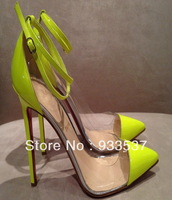 High quality free shipping Un Bout 120 mm Bright Neon Yellow Ankle Strap Heels Pumps Red Bottom Shoes