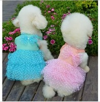 Pet clothes summer teddy vip dog chiffon tulle dress puff skirt princess dress