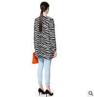 2014 high quality long sleeve round collar locating the zebra stripe coat