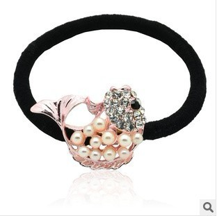 New headdress, carp high elastic alloy pearl hair ring hair rope, hair ties wholesale