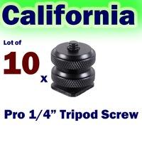 "Lot of 10 x Pro1/4""-20 Tripod Mount Screw to Flash Camera Hot Shoe Adapter"