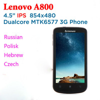 "Unlocked China brand Original Lenovo A800 4.5"" IPS MTK6577 Dual Core cell Phone Android 4.0 WCDMA 3G Russian root Gift firmware"