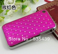 Hot ! 1 pcs 10 color High quality luxury shining stars Chrome Rhinestone case for iphone 3g 3gs Free shipping