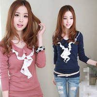 Women's autumn 2014 slim t-shirt basic shirt long-sleeve T-shirt female