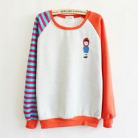 autumn and winter flocking fleece sweatshirts stripe Spell color sleeve o-neck women hoodies