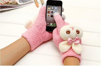 20pcs = 10 pairs cute Cartoon Gloves Female girls Rabbit Plush Screen Touch Gloves for iphone 5c 5s samsung galaxy Note s3 s4