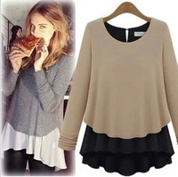 2013 autumn fashion women's clothing Slim thin long-sleeved round neck chiffon shirt blouse