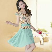 Women's clothing 2014 new summer fashion casual Slim round neck sleeveless chiffon dress flounced