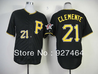 2013 Pittsburgh Pirates jersey 21 Roberto Clemente black yellow number men baseball jersey stitched logos size M-XXXL