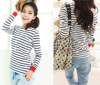 Free Shipping Fashion Women's Tops Tees O-neck Long Sleeve White+Blue Stripe Cotton Bottoming Shirt
