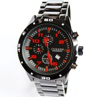 Sport Men 2014 New Full Stainless Steel Strap Quartz Watches With Calendar Big Dial Waterproof 10 Analog Wristwatches
