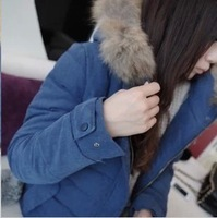 2013 winter cotton plus velvet thickening with a hood thermal wadded jacket outerwear female cotton-padded jacket