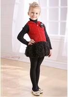 Free Shipping Wholesale 2014 Childrens Kids Girls Autumn & Winter Bowknot Girl Dress Baby Christmas Dress High Quality Dress