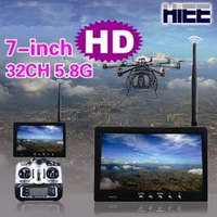 HIEE 7in FPV Monitor/ Built-in 32CH 5.8G Receiver with Sun Shading Hood and Antenna