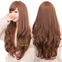 Shang Qingsi wig girls long fluffy matte high-temperature wires in long curls fashionable ladies wigs