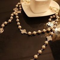 Fashion Famous Brand Jewelry crystal clover pearl bib Long sweater Necklaces FreeShipping/Wholesale 14-8-11