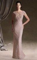 2014 Top sale beading lace elegant Evening Dresses/Celebrity dresses/party Mother the Bride Dresses with Short Sleeve