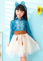 Sweet and cute girl little girl denim  dresst long-sleeved dress 2014 spring and autumn Free Shipping