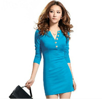 2013 autumn women's ol elegant basic skirt slim hip slim long-sleeve dress female