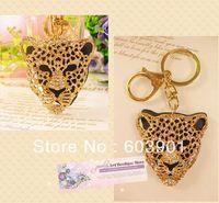 Free Shipping full rhinestone,crystal Leopard Key chain Alloy Keyring handBag car Charm fashion gold