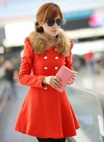 Free shipping X 2013 winter slim wool collar double breasted woolen overcoat