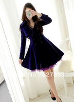 New Lady Fall elegant Charm Purple Tulle patchwork Lapel Double Breasted Long Sleeve Blue Wool blend Coat Outerwear S~XL
