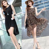 Irregular sweep dovetail skirt tank dress one-piece dress chiffon sexy leopard print midguts
